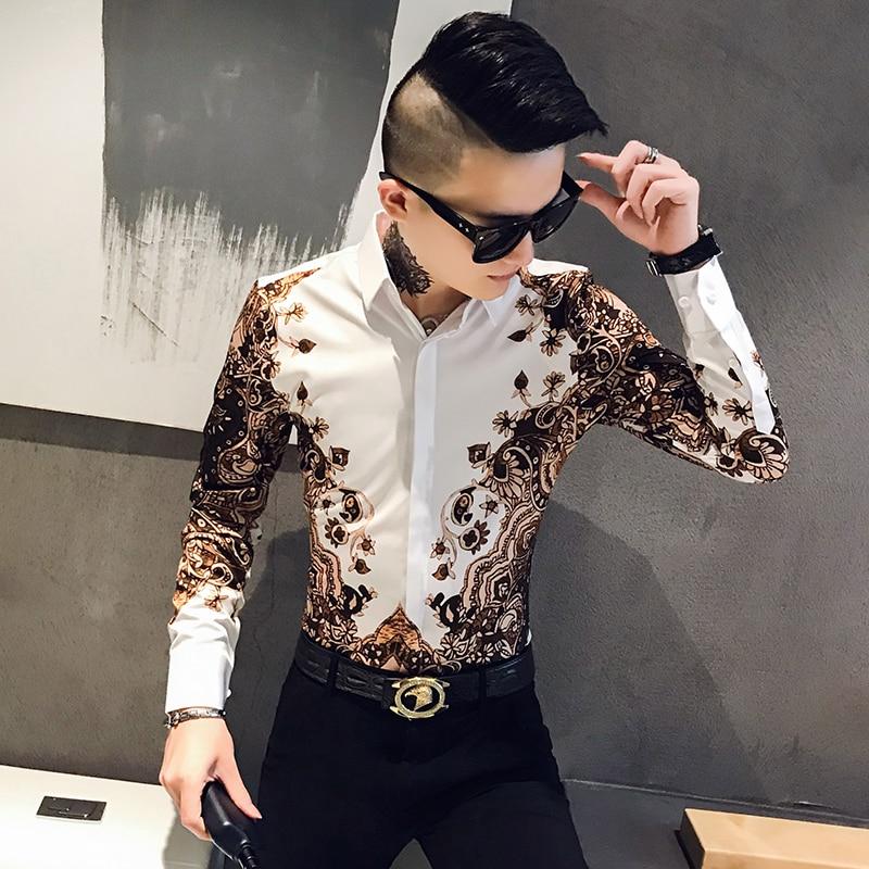 Fashion Brand Mens Printed Shirt Slim Long-Sleeved Baroque Party Shirt Men's Club Clothing Camisa Luxury Royal Men Tuxedo Shirt