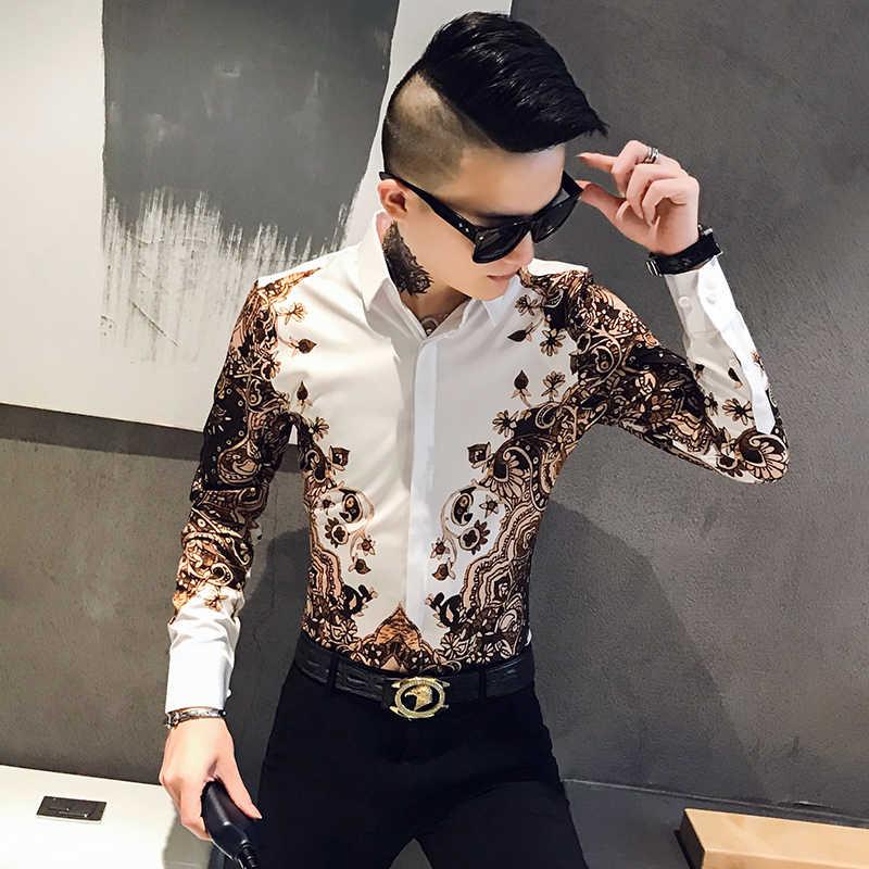 Mode Marke Mens Gedruckt Hemd Schlank mit Langen Ärmeln Barock Party Hemd männer Club Kleidung Camisa Luxus Royal Männer smoking Hemd