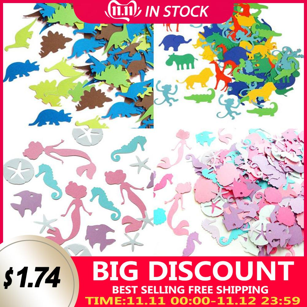 100 pçs animais dinossauro peixe papel colorido confetes crianças festa de aniversário decoração bookmark baptismo do bebê 1st aniversário chuveiro