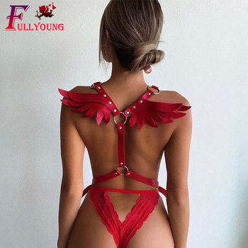 Fullyoung Goth Leather Harness Angel Wing Sexy Garter Erotic Waist Punk Women's Lingerie Waistband Night Club Suspenders - discount item  45% OFF Women's Intimates