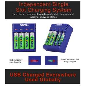 Image 3 - Pkcell Kleurrijke Acculader 4 Slots Voor Nimh/Nicd Aa Aaa Batterijen Usb Onafhankelijke Opladen