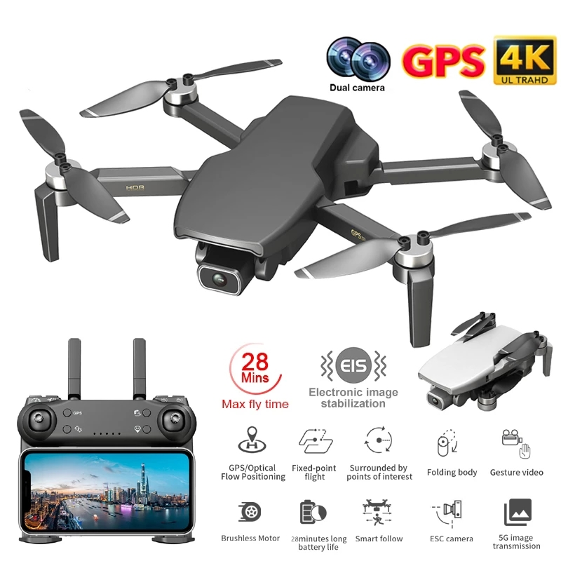 NYR L108 Gps Drone with Follow Me HD 4K Camera Professional 1000m Image Transmission Brushless Motor Foldable Quadcopter RC Dron