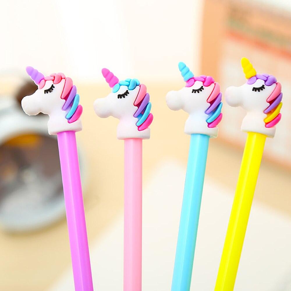 Cool Cute Kawaii Rainbow Unicorn Gel Pen Blue Stationery Kawai Office Accessory Back To School Stationary Supply Thing Item Gift