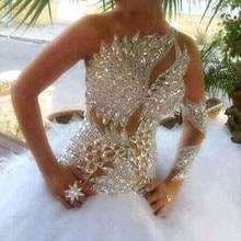 Illusion Weiß Brautkleider Ballkleid 2020 Luxus Kristall perlen Tüll Hochzeit Kleider Mit Langen Ärmeln Eine Schulter Royal Zug