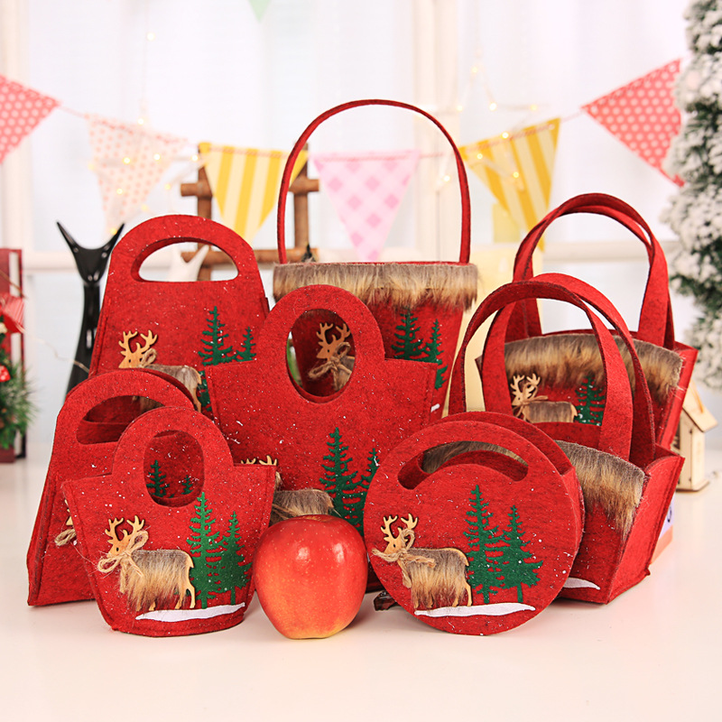Christmas Felt Handbag Nonwoven Celebration Decorative Candy Gift Storing Handbag Elk Tree Round Square Bag Two For One