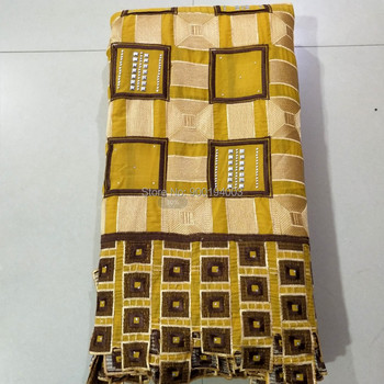 Latest Gold lace fabric high quality lace nigerian lace fabric for women dress african cotton lace with stones 5yards per piece