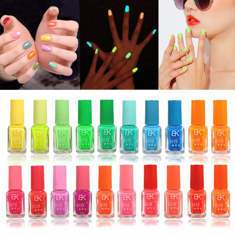 1 Bottle Luminous Fluorescent Neon Nail Polish Glow In Dark Nail Enamel Varnish Nail Gel 7ml Hybrid Nail Art Nagellak Lacquer
