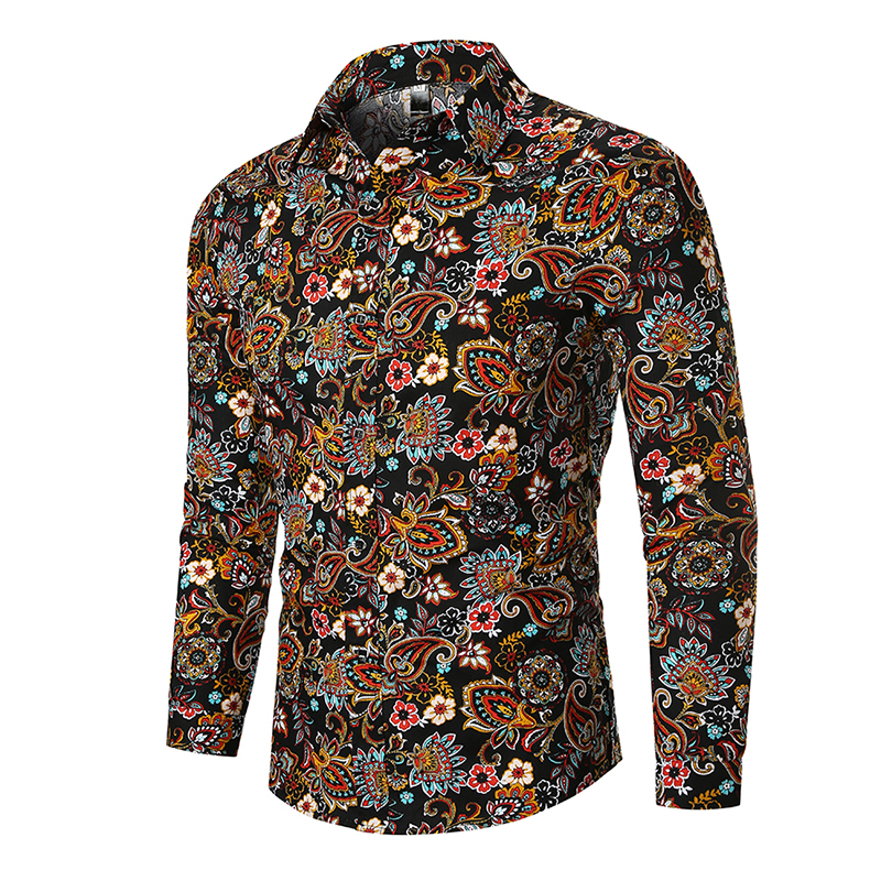 Black Vintage Paisley Shirt Men 2019 Fashion Slim Fit Long Sleeve Mens Dress Shirts Business Casual Camisa Social Masculina XXXL