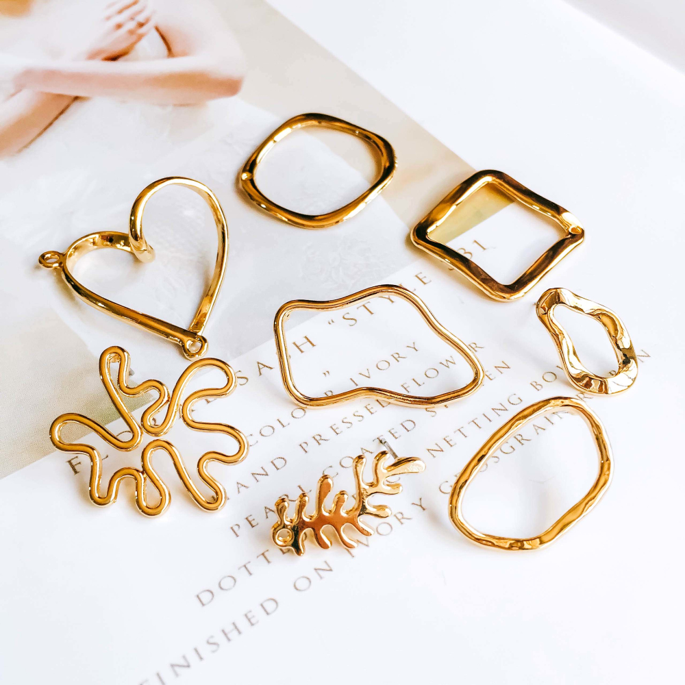 KC Gold Color Plated Stud Earrings Accessories Round Star Eardrop Pendant Charms Jewelry Component Diy Handmade Material 8pcs