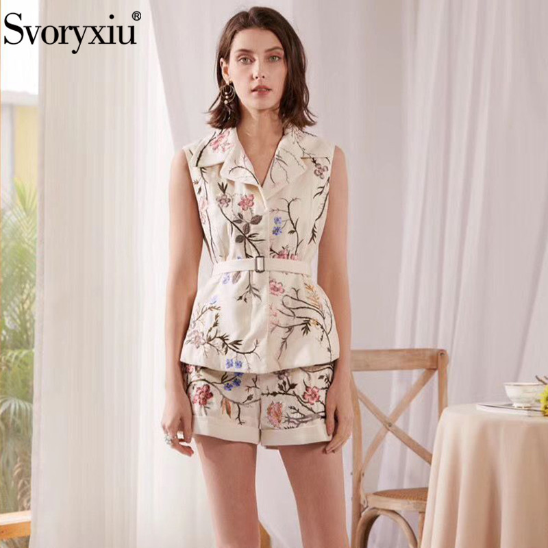 Svoryxiu luxury Runway Summer Flower Embroidery Shorts Two Piece Set Women's High Quality Cotton Linen Vest Fashion Suits Female