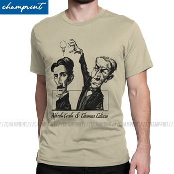 Novelty Tesla VS Edison T-Shirts Men T Shirts Nikola Electricity Science Physicist Energy Inventor Geek Top Nerd Tee Shirt - discount item  40% OFF Tops & Tees