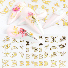 3D Golden Butterfly Nail Decoration Adhesive Shinning Sliders Stickers Summer Design Manicure Decals Nail Foils Wraps 22tips sheet toe nail stickers waterproof full cover foot decals toe nail wraps adhesive stickers diy salon manicure