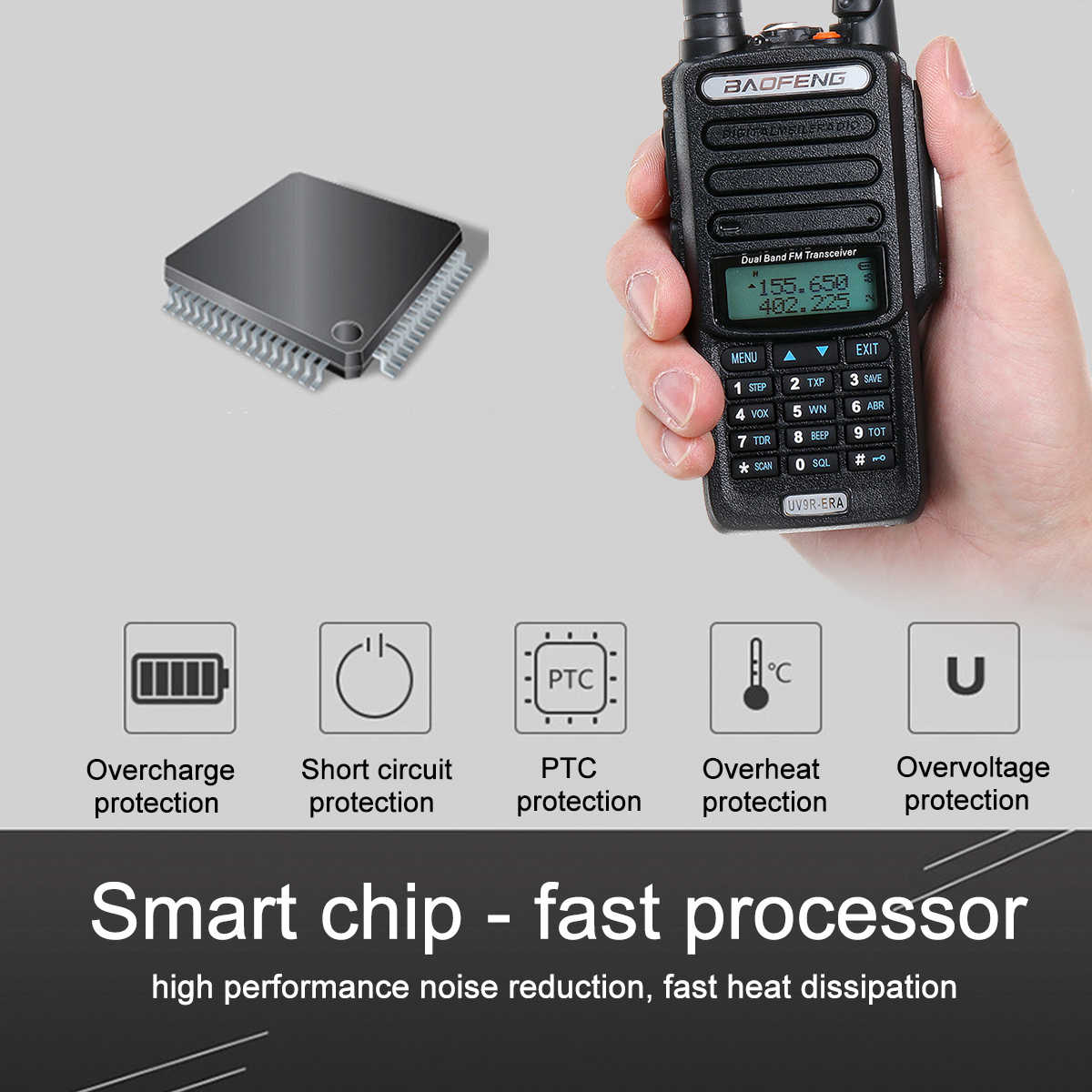 Baofeng UV9R-ERA Walkie Talkie Professional Radio Station Transceiver VHF UHF Portable Radio 15km Talk-Range 9500mah