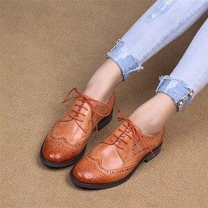 Image 5 - Yinzo Frauen Wohnungen Oxford Schuhe Frau Echtem Leder Turnschuhe Damen Brogues Vintage Casual Schuhe Schuhe Für Frauen Schuhe 2020