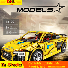 Technic series Bricks Audis R8 V10 Speed Racing Car Model Building Blocks Toys MOC 13127 Compatible with lepins Toy For Children new 50pcs cross axle series bricks model building blocks toy boy technic parts children toys compatible with lego bricks