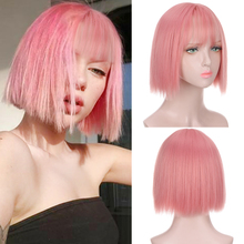 Женский короткий парик HUAYA с челкой, термостойкие синтетические волосы розового цвета для косплея, вечерние прически «Лолита», серебристо-з...