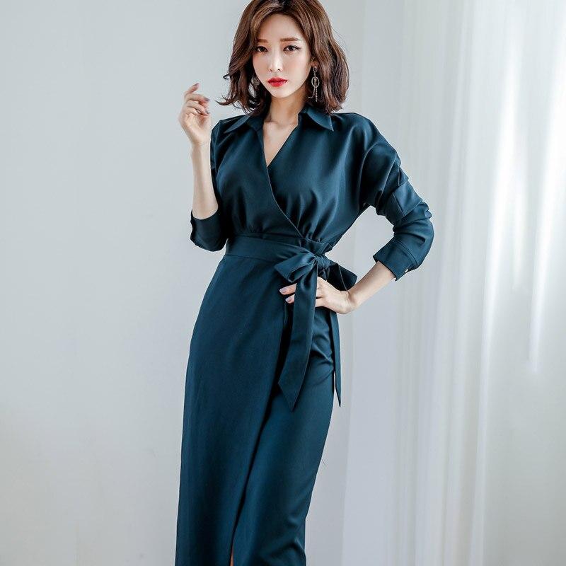 Elegenat Office Ladies Shirts  Dress With Belt High Split Dress For Women Long Sleeve Belted Slim Waist Dresses