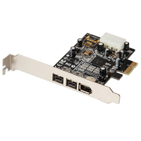 QINDIAN Add On Card PCI Express 3 Port Firewire 1394B & 1394A PCIe 1.1 x1 Card TI XIO2213B Chipset 1394 Cable Video Capture Card