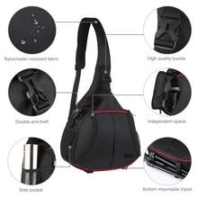 Puluz digital slr saco da câmera mochila triângulo estilo à prova de água saco de mensageiro de ombro único