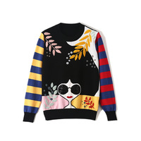 Female Casual Autumn Winter Sweater Round Neck Stripe Pullover Embroidery Applique Long Sleeve Loose Harajuku Knitted Sweater