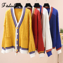 цены Fitshinling College Buttons Pockets Cardigan Women's Knitted Jacket Striped Splice Winter Cardigans Women Clothing Twist Sweater
