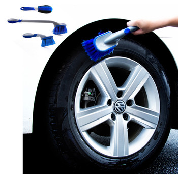 1 pcs 16 inch flexible blue car wash brush long microfiber noodle chenille alloy wheel cleaner Car Wash Wheel Hub Brush Long Handle Car Tire Cleaning Brush Auto Detailing Rim Cleaner Vehicle Wheel Scrub Cleaner Tool Blue