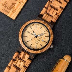Image 2 - בובו ציפור עץ גברים שעונים erkek kol saati קוורץ שעוני יד זכר להראות תאריך ושבוע שעונים ב מתנות עץ תיבה dropshipping
