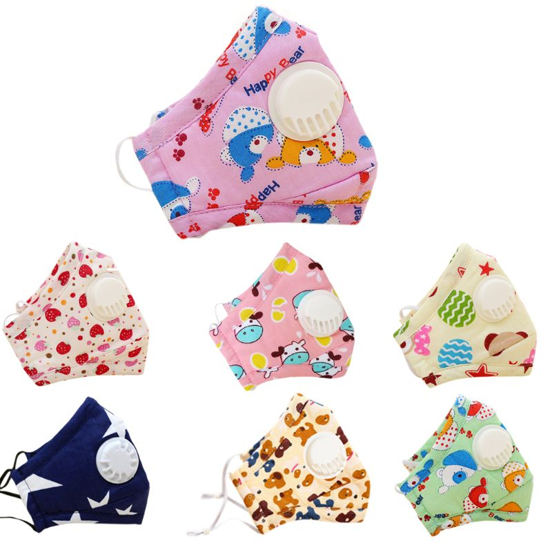 Winter Children Kids Dustproof Washable Cotton N95 Mouth Mask Cartoon Car Strawberry Printed Adjustable Respirator With Breath Valve Replaceable Filter 3-12T