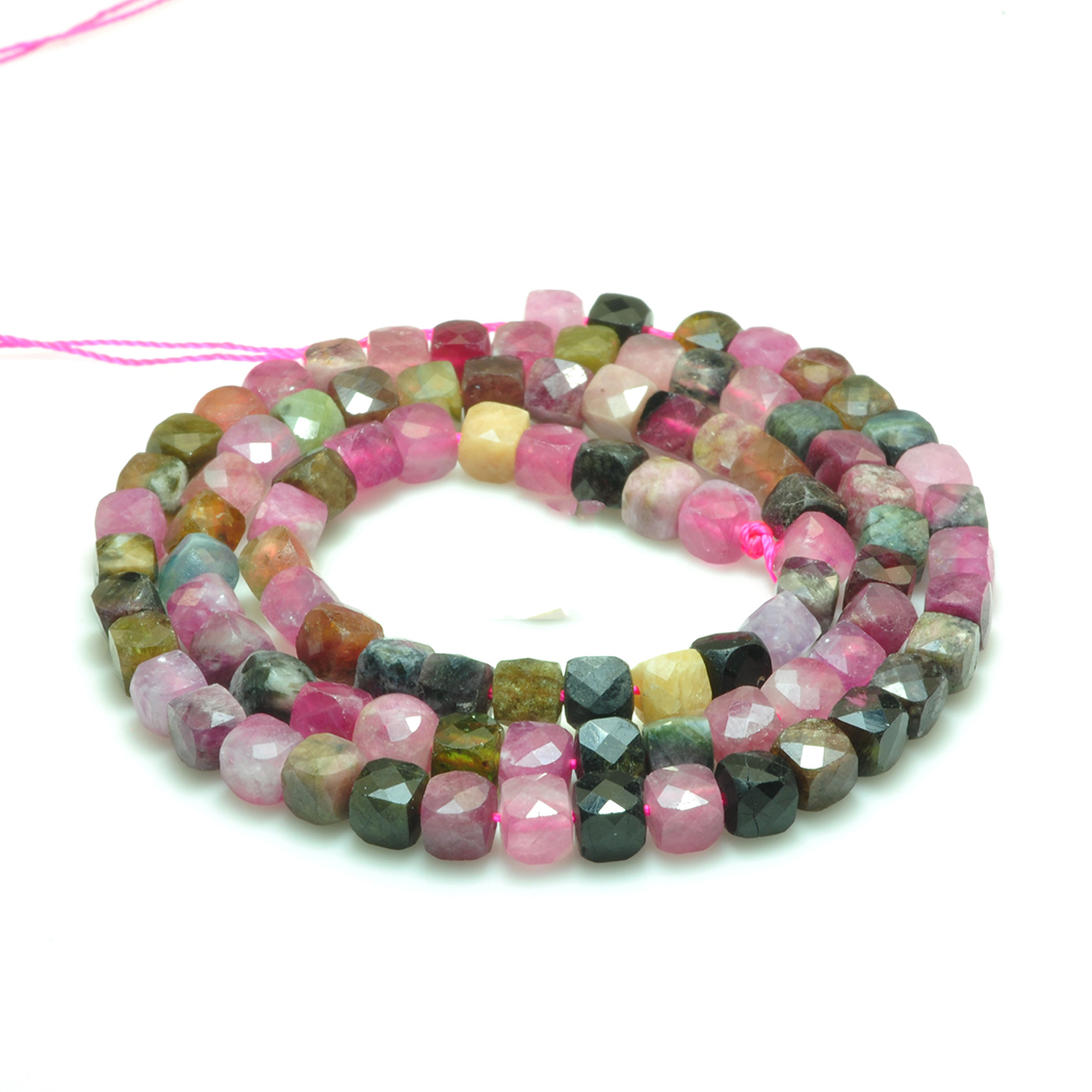 Tourmaline 4mm  Natural Gemstone Beads Square  Faceted  For Silver 925 Jewelry   Necklace Earring Bracelet 15inch ICNWAY