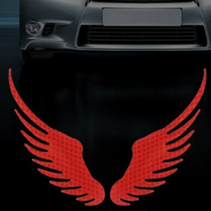 1Pair Safety Warning Reflective Car Sticker Angel Wings Reflective Warning Sign Funny Bike Decal Sticker Motorbike Sticker image