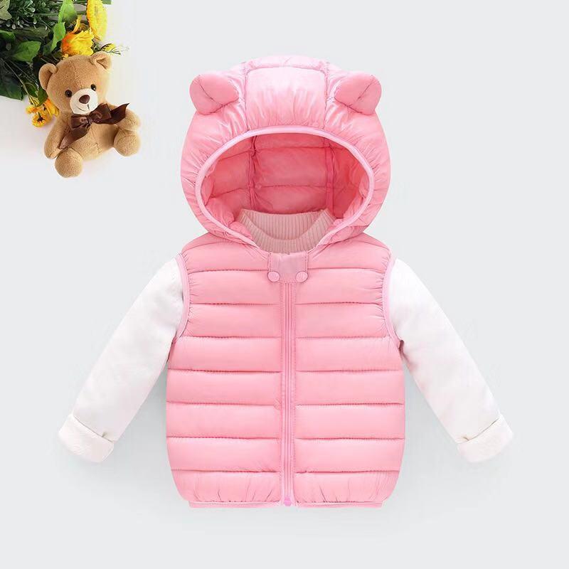 Одежда для маленьких девочек; зимнее Детское пальто; светильник с капюшоном; однотонная хлопковая верхняя одежда; жилет для малышей; одежда для маленьких мальчиков - Цвет: Розовый