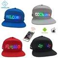 Bluetooth led chapéu com 12*48 tamanho maior display led boné de beisebol hip hop golf hat noite pesca caça led luz equitação chapéu