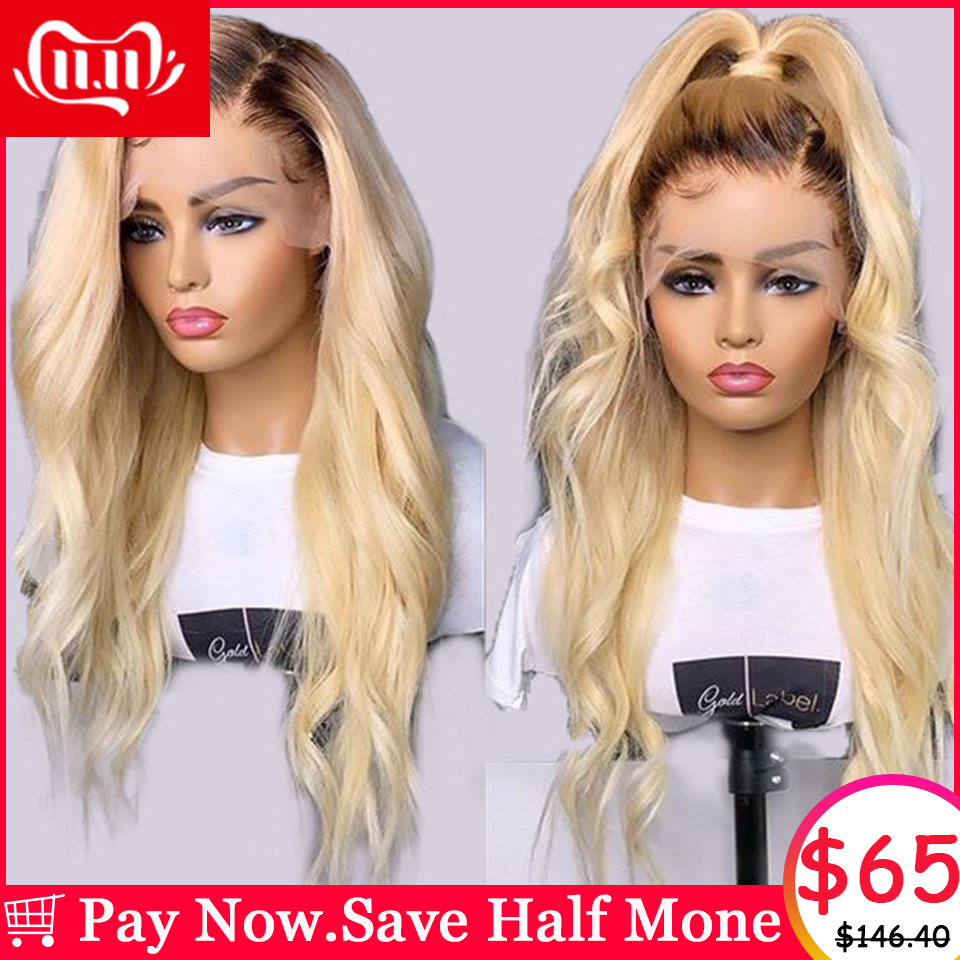 150% 1B 613 Honey Blonde Ombre Colored 13x6 Lace Front Human Hair Wigs For Black Women Pre Plucked Brazilian Remy Body Wave Wig