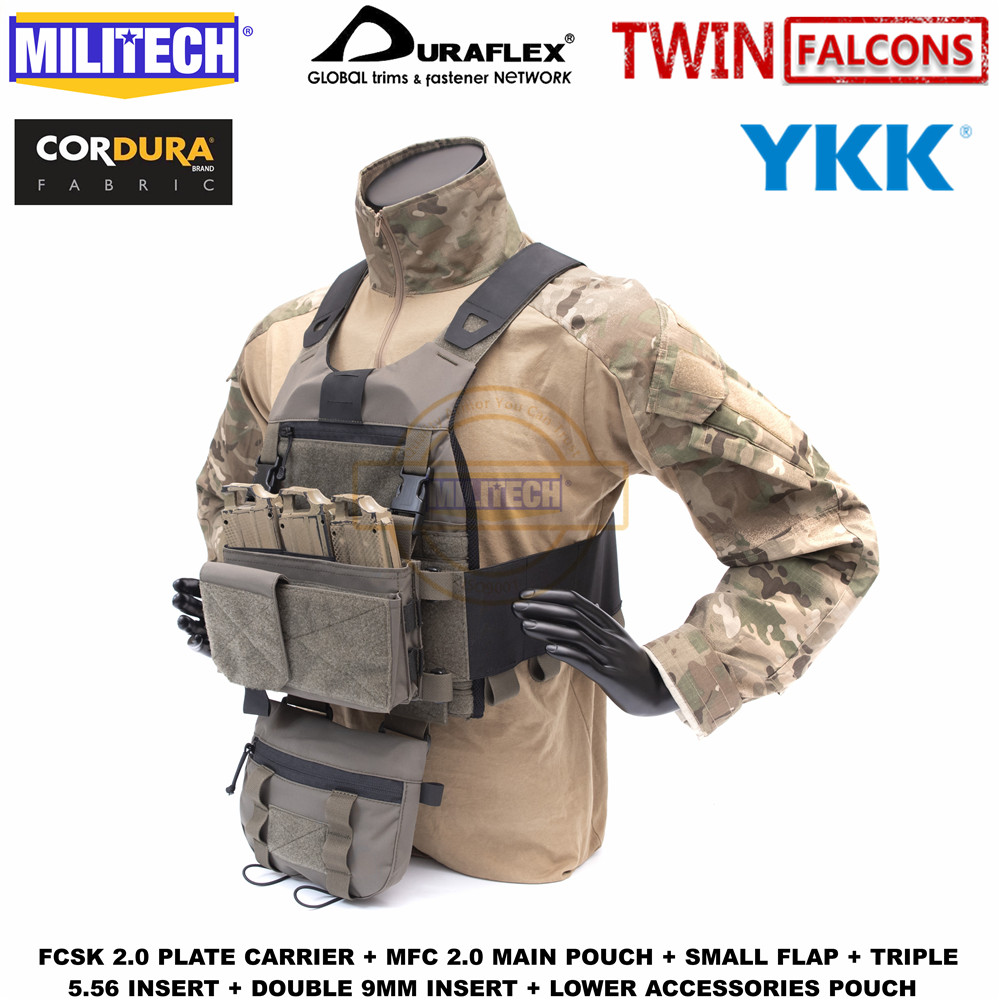 MILITECH TW FCSK 2.0 Slickster Ferro Tactical Plate Carrier Loadout Set Deal With MFC 2.0 Main Pouch And Lower Accessories Pouch