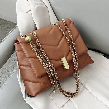 Винтажные дизайнерские сумки через плечо из искусственной кожи с цепочкой для женщин 2021 зимние женские трендовые сумки брендовые трендовы...