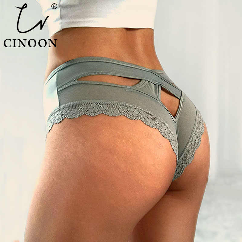 CINOON Sexy Panties Women Traceless Crotch of Cotton Briefs Lingerie High Quality Lace Hollow Out Underpants Intimates Lingerie