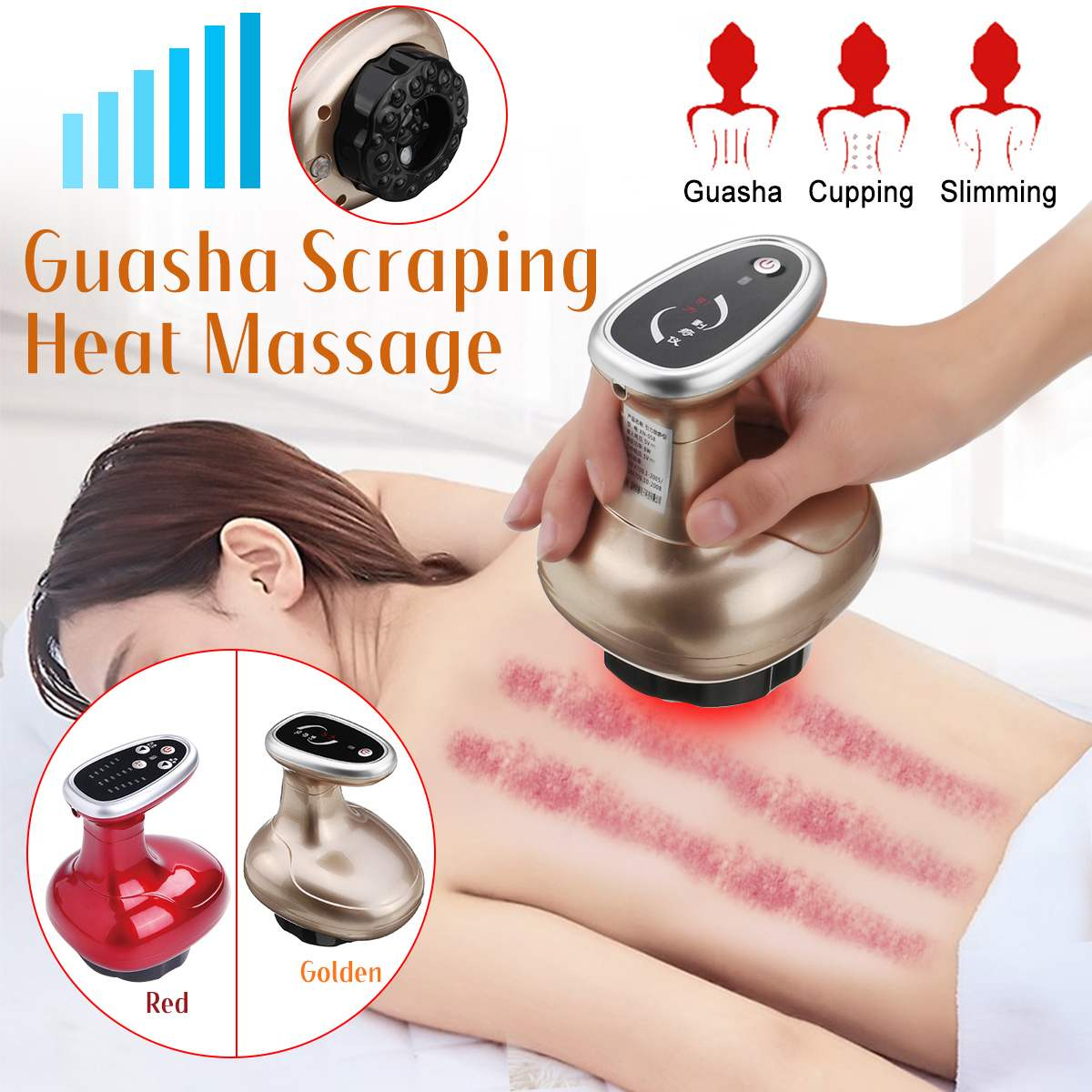 heater-Electric Cupping Body Massager Guasha Scraping Pump Suction Massage Body Cans Anti Cellulite Apparatu Magnetic Therapy