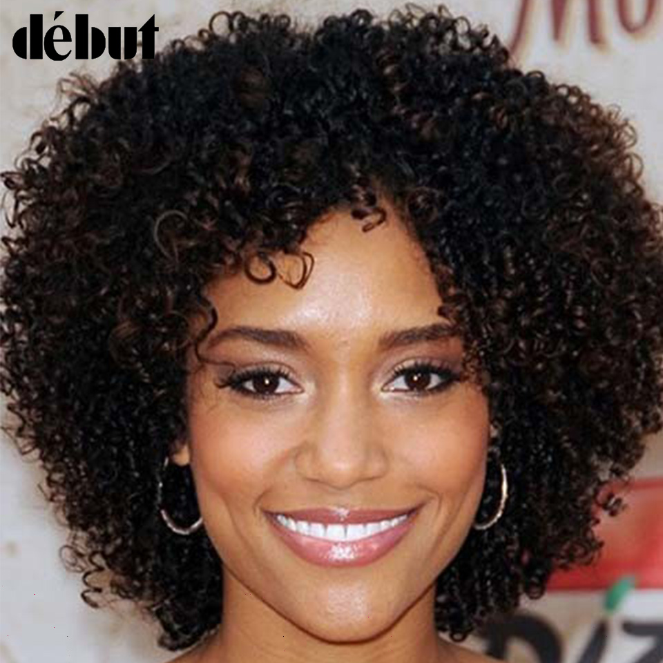 Debut Human Hair Wigs 12 Inch Short Curly Human Hair Brazilian Human Hair Wigs 4 P4/27 Color Human Hair Wigs For Mom Wig