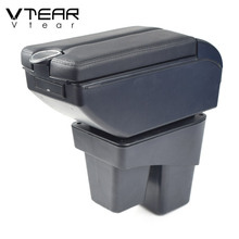 Vtear for Honda WRV car armrest leather storage box USB arm rest car styling ABS interior parts center console accessories 2018