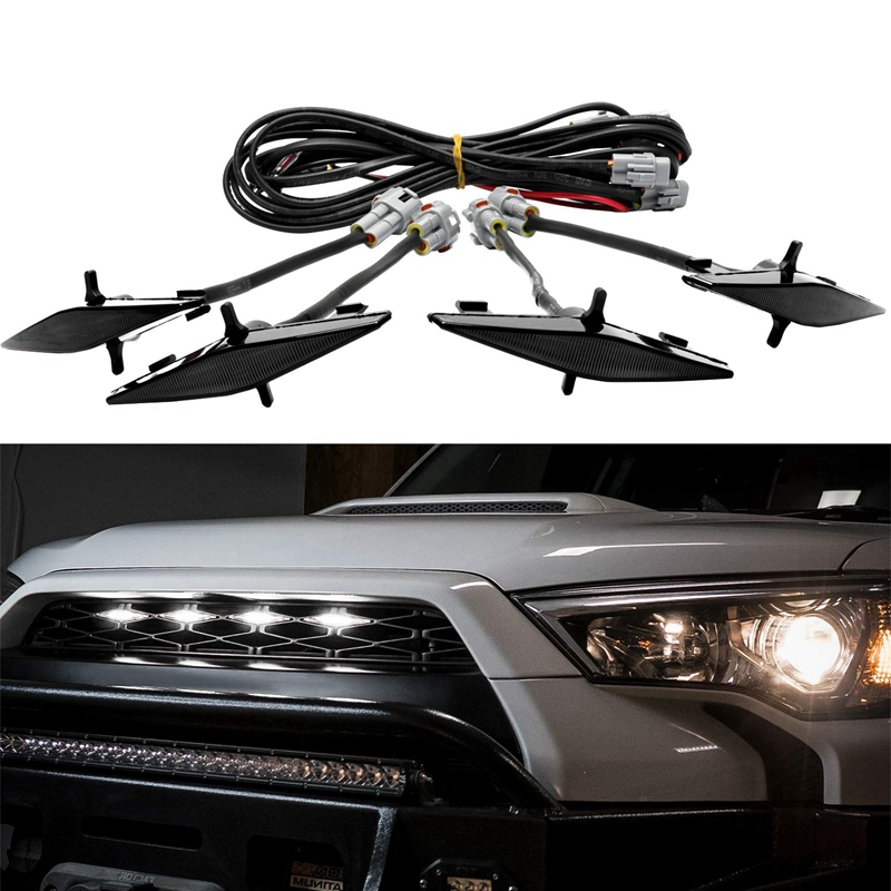 4 Pcs External White LED Lights Decoration, Led Front Grille Lights For 2014-2019 Toyota 4Runner TRD Pro Grille Running Lamps