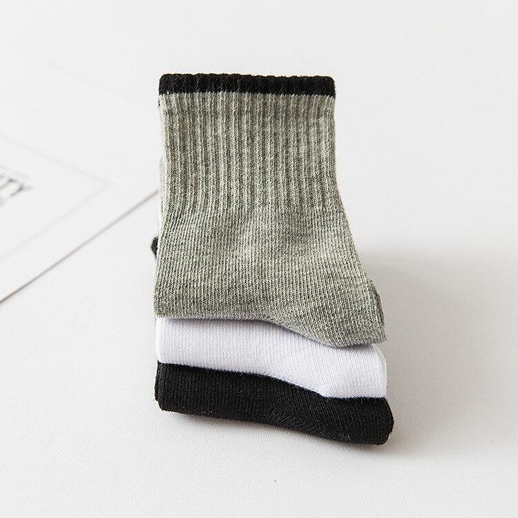 5pairs/lot Soft Cotton Baby Kids Socks White Black Girl Boys Socks Children Footwear Sports Casual Plus Size Teenager 4