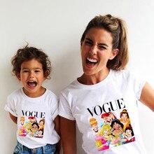 г. Летняя футболка с принтом принцессы в стиле панк модная одежда для мамы и дочки забавная семейная футболка с короткими рукавами,1 предмет