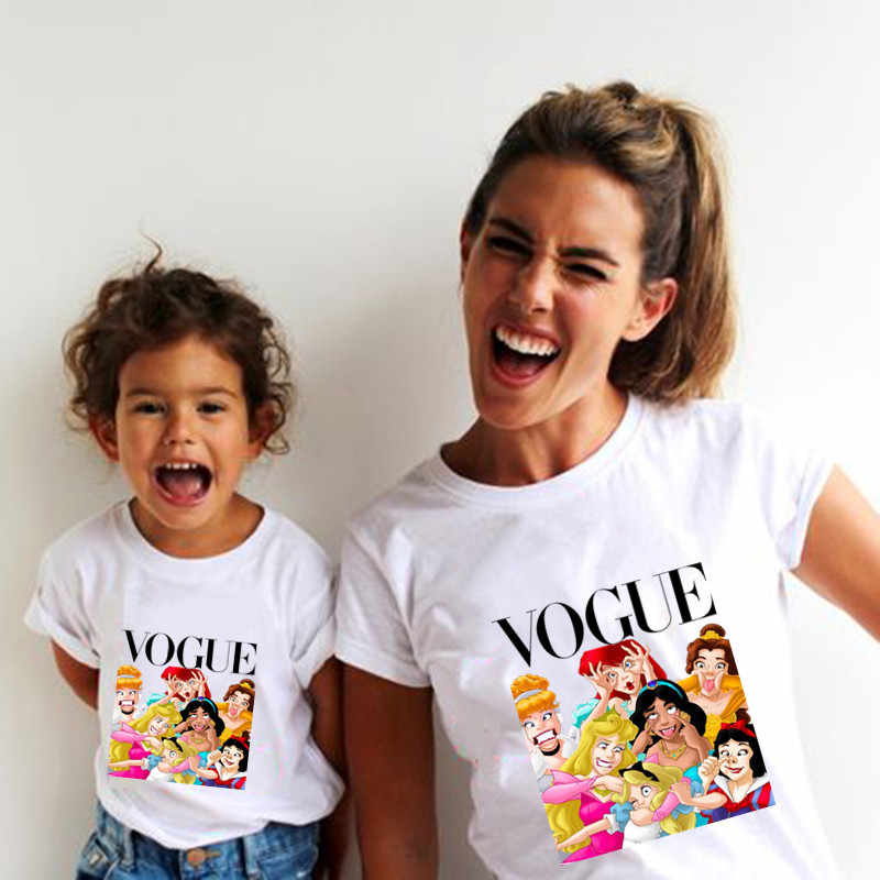 1PC 2019 Summer Style Punk Princess Printed T Shirt Fashion Mom Daughter Clothes Funny Family Look Short Sleeve Tee Shirt