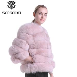 Image 2 - Echte Bontjas Vrouwen Blauw Vos Bont Jas Jas Winter Natuurlijke Bontjas Korte Afneembare Mouwen Vest Plus Size Vrouwelijke kleding 2019