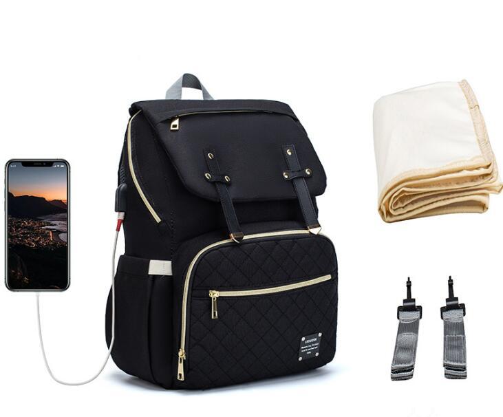 Lequeen marque sac à couches grande capacité USB momie sac voyage sac à dos concepteur sac de soins infirmiers pour les soins de bébé