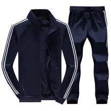 Casual agasalho homens jaquetas com zíper + calças 2 peças conjuntos de roupas esportivas dos homens treino fino ajuste terno esportivo moda suor terno 2020