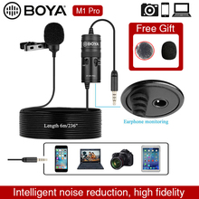 Microphone BOYA BY-M1 Pro 6m Clip-on Lavalier Mini Audio 3.5mm Collar Condenser Lapel Mic for Smartphone DSLR Camcorder Audio