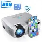 AUN светодиодный мини проектор D40W, видео проектор для домашнего кинотеатра. 1600 люмен, поддержка HD, беспроводной синхронизация дисплея для iPhone...