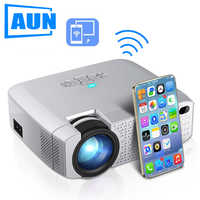AUN FÜHRTE Mini Projektor D40W, Video Beamer für Home Cinema.1600 Lumen, Unterstützung HD, wireless Sync Display Für iPhone/Android Telefon