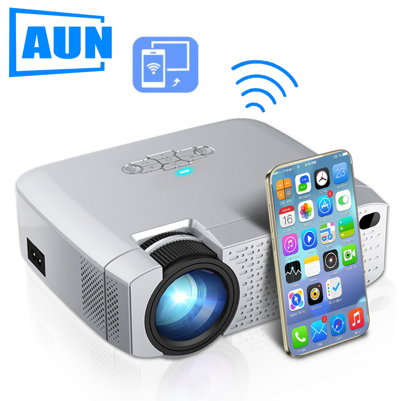 AUN LED Mini Projector D40W,Video Beamer for Home Cinema.1600 Lumens, Support HD, Wireless Sync Display For iPhone/Android Phone